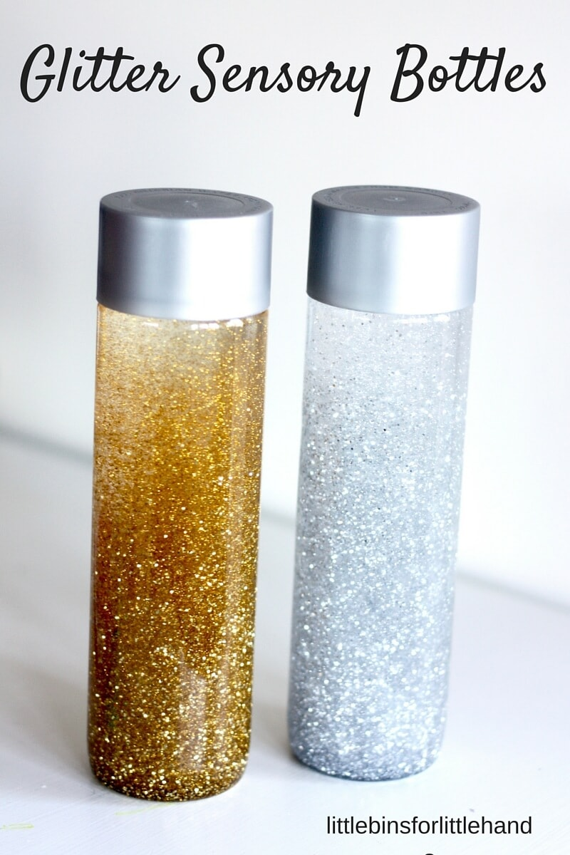silver and gold sensory bottles for new years by little bins for little hands.