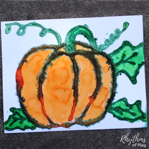 fall harvest pumpkin art - watercolor salt painting