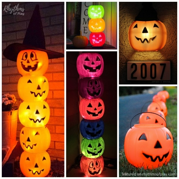 Glowing Jack O' Lantern Luminaries made with Halloween buckets