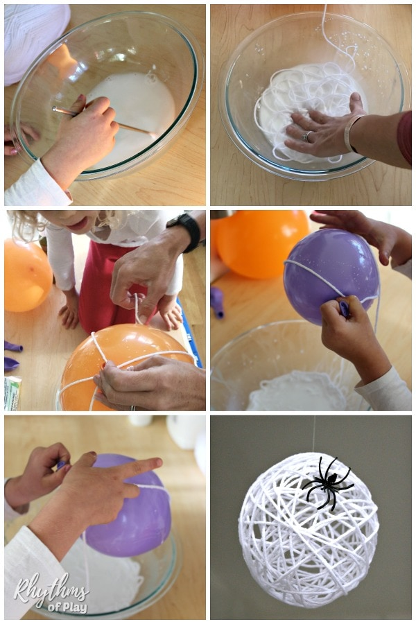 How to make a spider egg sac Halloween decoration step by step photo tutorial