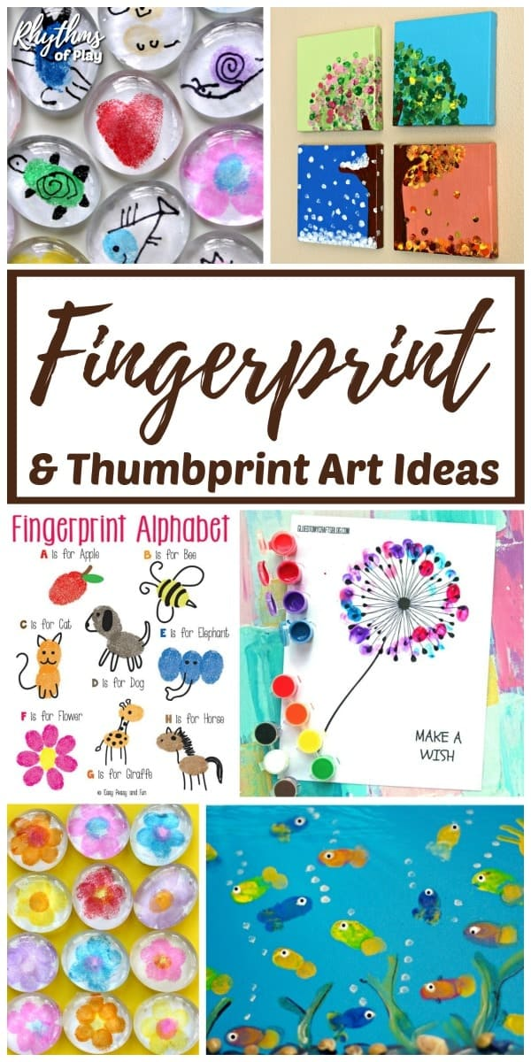 Fingerprint and thumbprint art and craft ideas and projects for kids of all ages.