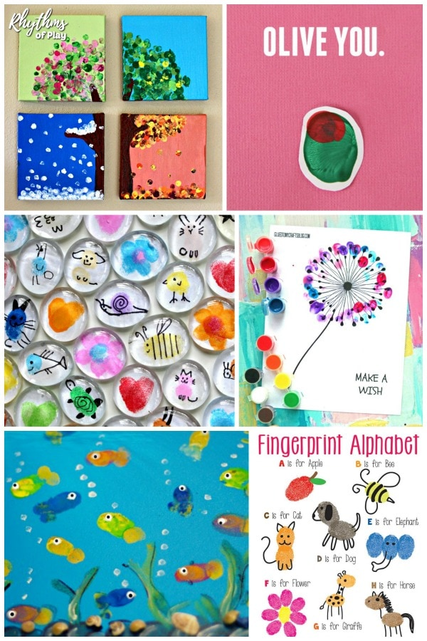 Fingerprint and Thumbprint art and craft ideas for kids.