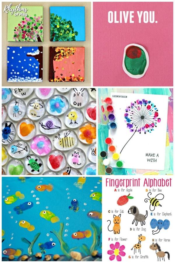 Fingerprint and Thumbprint art and craft ideas for kids.