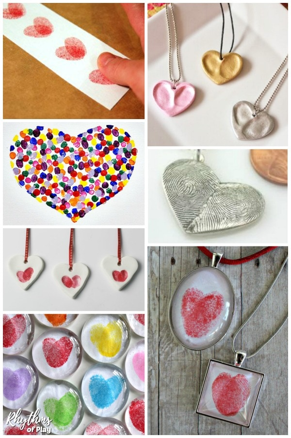 Thumbprint heart craft ideas for kids and adults.