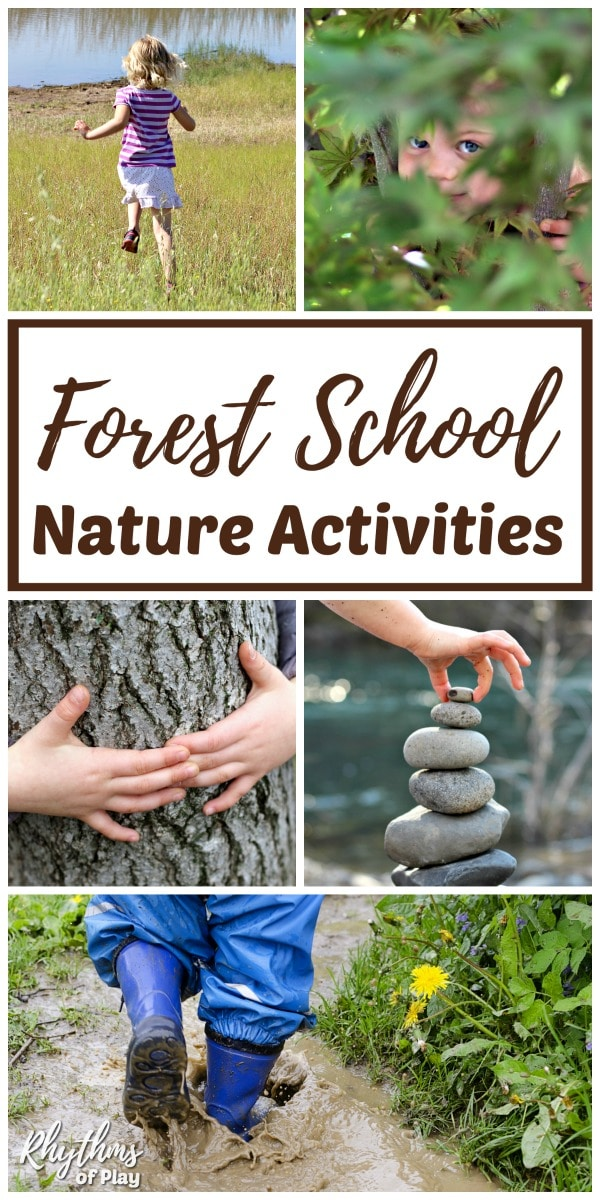 Child-led forest school outdoor learning suggestions and nature activities for kids.