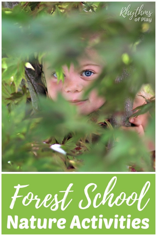 Forest school outdoor learning ideas and nature activities for kids.
