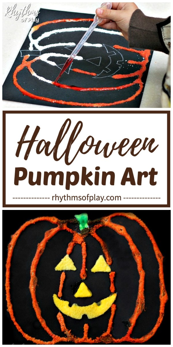 Halloween pumpkin art project for kids - salt painting pumpkin craft