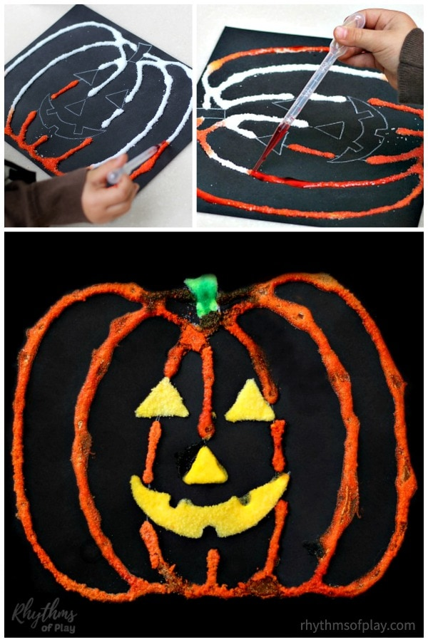 Halloween pumpkin art salt painting craft