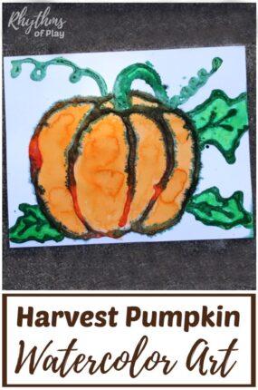 Fall harvest pumpkin art project - watercolor salt painting