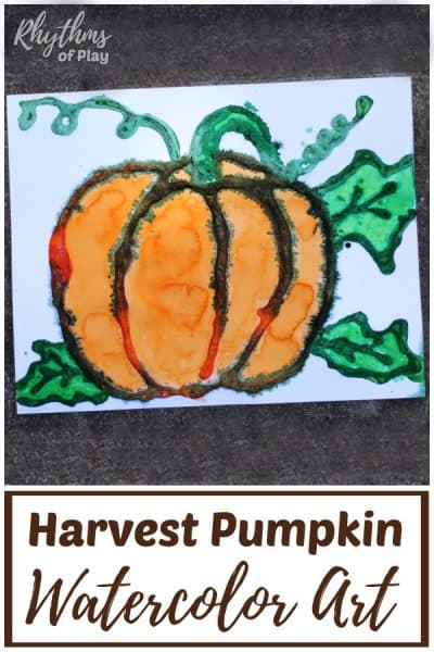 Fall harvest pumpkin art project - watercolor salt painting