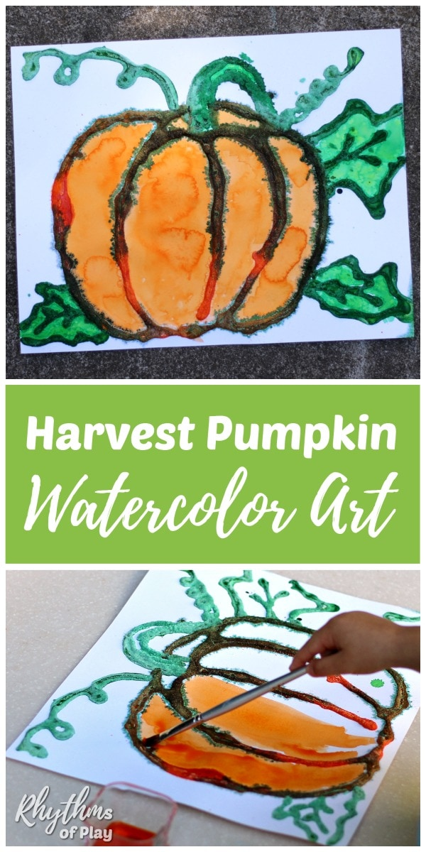 Pumpkin art - watercolor salt painting