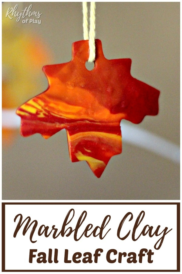 Marbled clay autumn leaves fall leaf craft made with polyform clay.