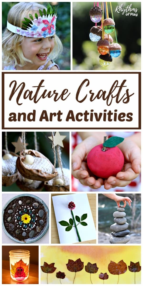Nature crafts and nature art activities for kids and adults.