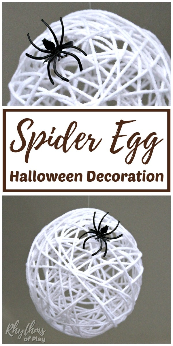 spider egg sac DIY Halloween decor