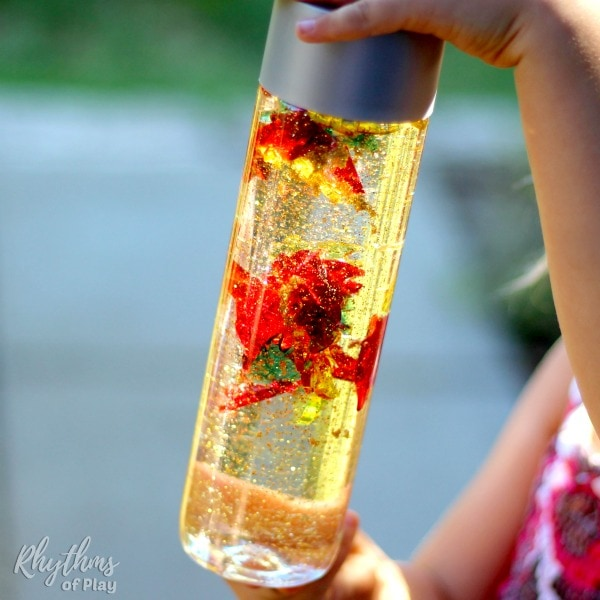 Windy fall leaves DIY sensory bottle for kids