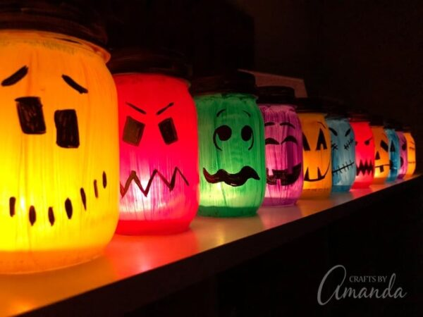 painted halloween lanterns and luminaries diy