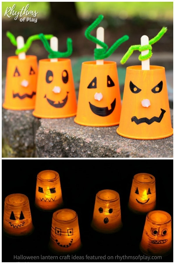 recycled cup Halloween lantern craft ideas
