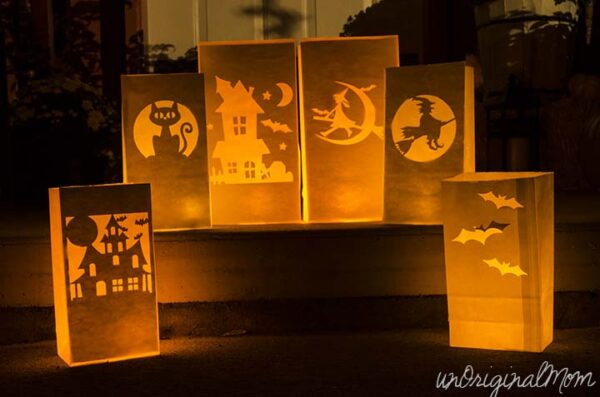 Paper bag lanterns Halloween decor diy
