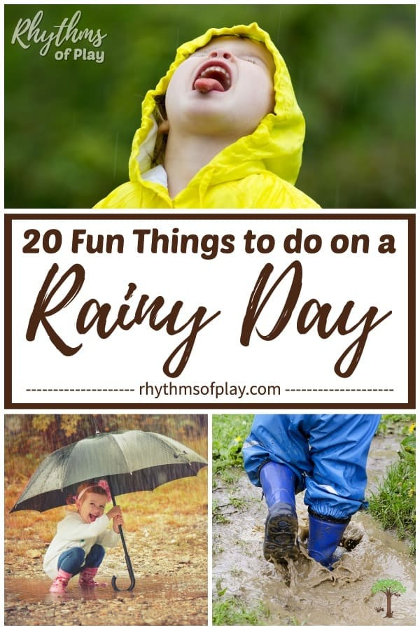 children playing in the rain showing fun things to do on a rainy day