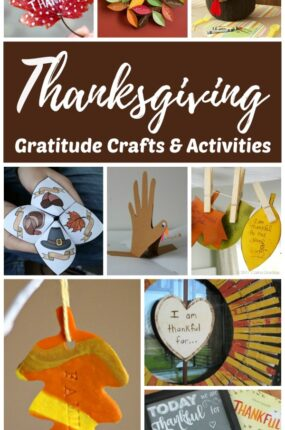 Pictures of the Thanksgiving crafts and activities listed in this Thanksgiving gratitude roundup.