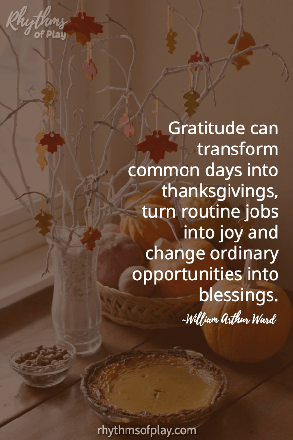 "Thanksgiving thankful tree with quote ""Gratitude can transform common days into thanksgivings..."""