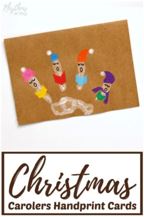 Homemade Christmas Handprint Art Cards - Christmas Carolers