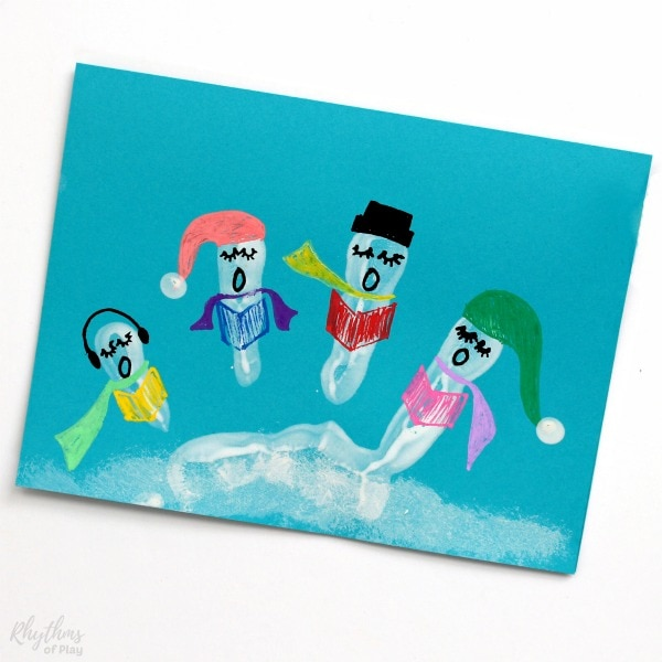 Christmas Carolers Handprint Art Cards Kids can Make