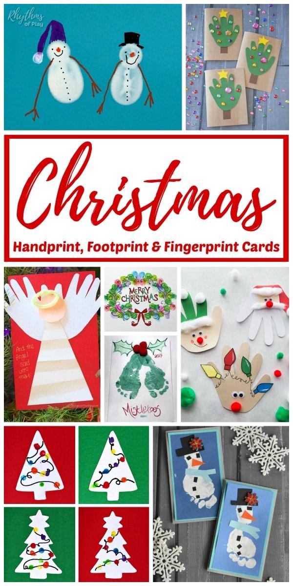Handprint Christmas Cards, Fingerprint Christmas Card Ideas, and Footprint Cards