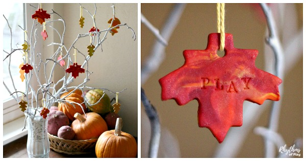 DIY thankful tree with marbled clay gratitude leaves