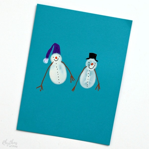 Homemade fingerprint snowman Christmas cards.