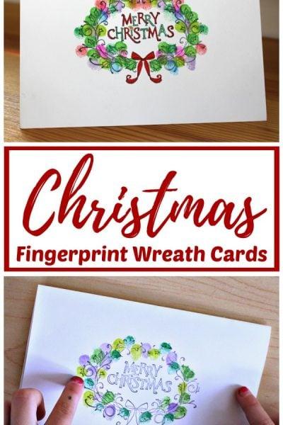 Christmas Wreath Fingerprint art card kids can make
