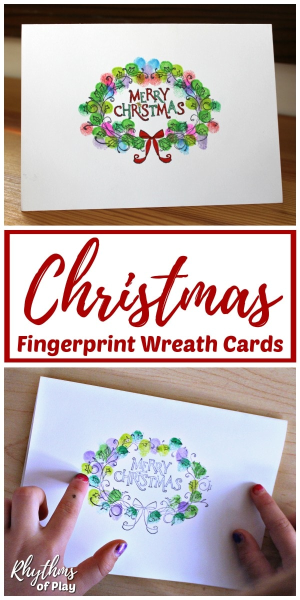 Christmas Wreath Fingerprint art card kids can make