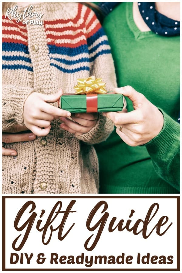 gift guide with readymade and DIY homemade gift ideas for the whole family.