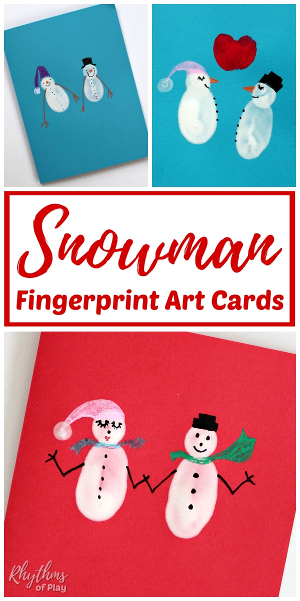 Fingerprint snowman cards kids and adults can make.