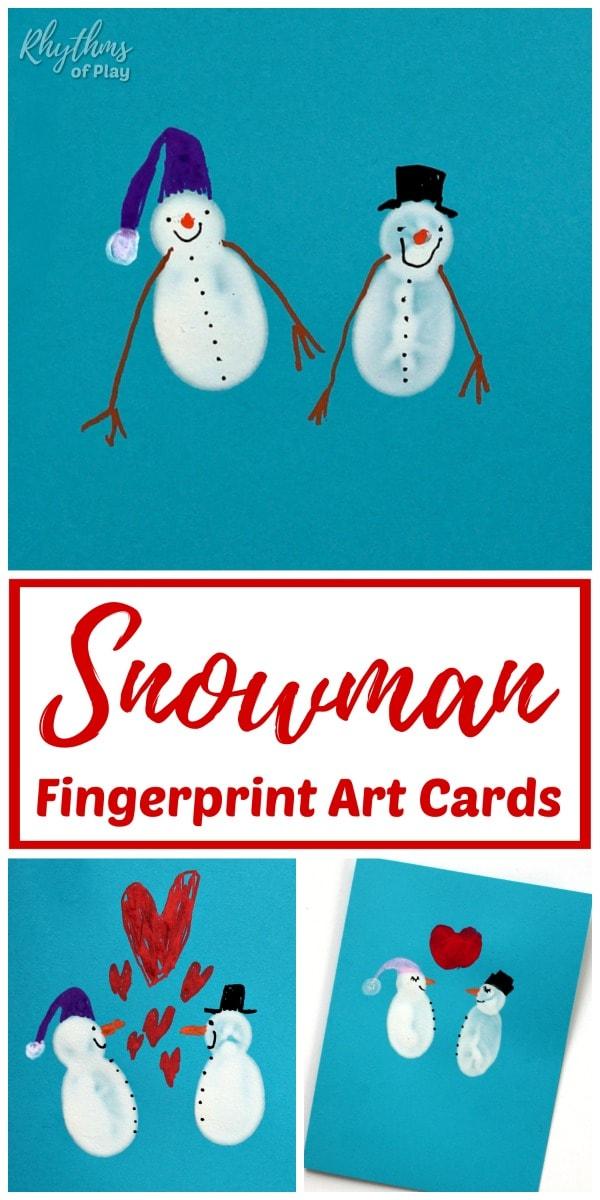 Fingerprint snowman cards