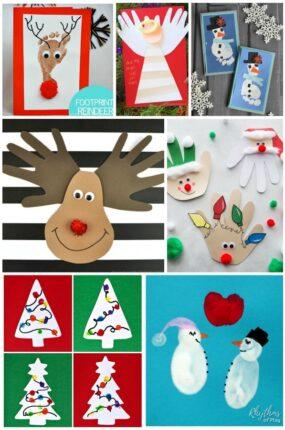 Christmas handprint crafts, Christmas fingerprint crafts, Christmas footprint crafts for holiday cards