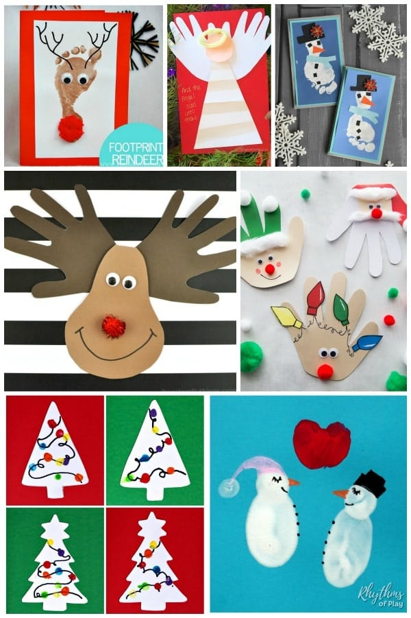Christmas Handprint Footprint And Fingerprint Card Craft Ideas Rop