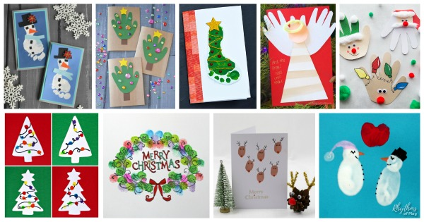 Christmas handprint, footprint, and fingerprint crafts for homemade holiday cards.