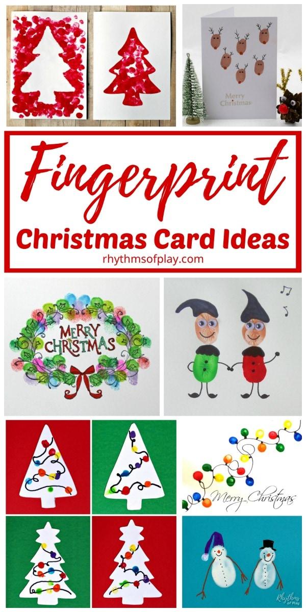 Christmas fingerprint art card ideas