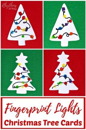 Fingerprint Christmas lights Christmas tree card craft