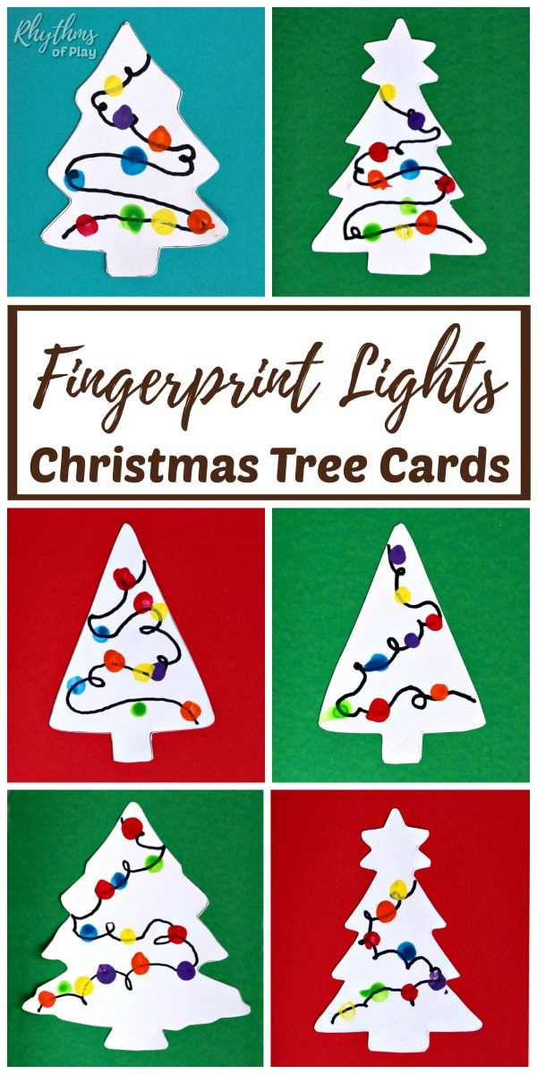 fingerprint lights craft - Christmas tree cards