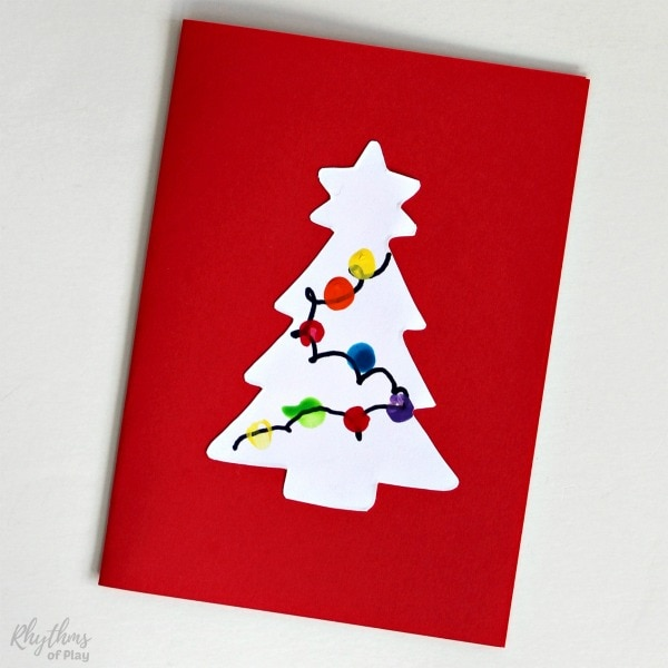 Homemade fingerprint lights Christmas tree cards craft