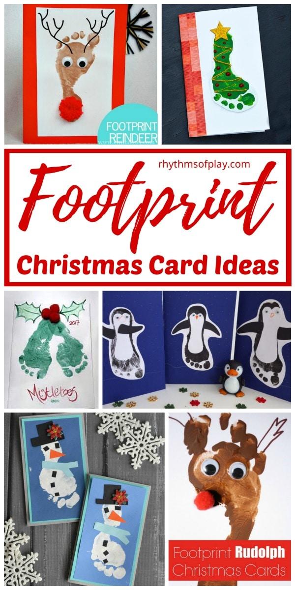 Christmas footprint crafts for homemade Christmas cards