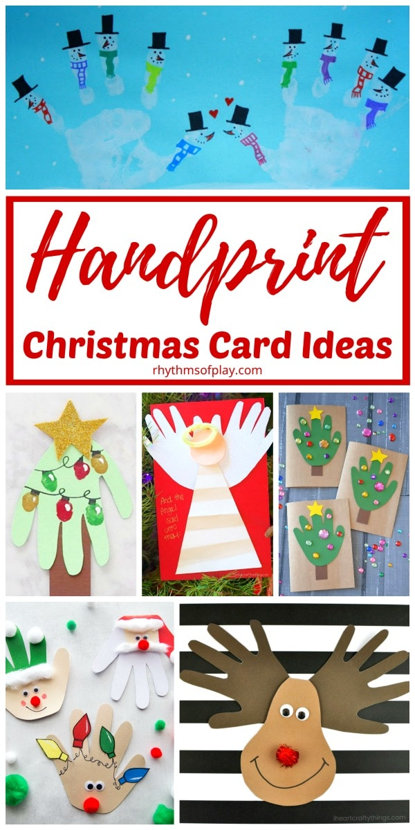 Christmas handprint crafts for homemade holiday cards
