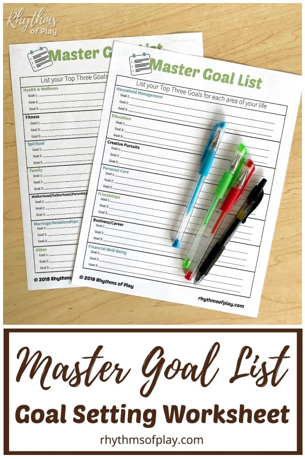 Goal setting worksheet pdf printable master goal list