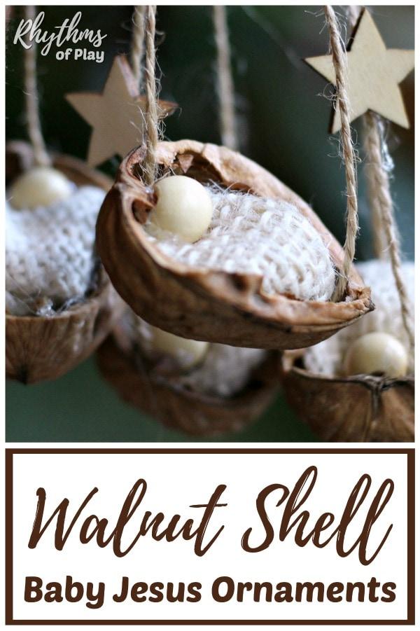 Walnut Shell Manger Christmas Ornaments