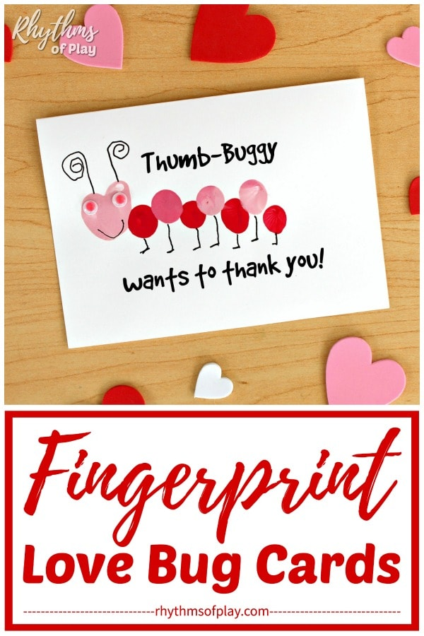 Thumb-buggy wants to thank you fingerprint love bug card idea