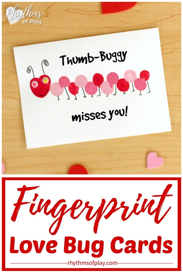 Thumb-buggy misses you fingerprint love bug card message idea