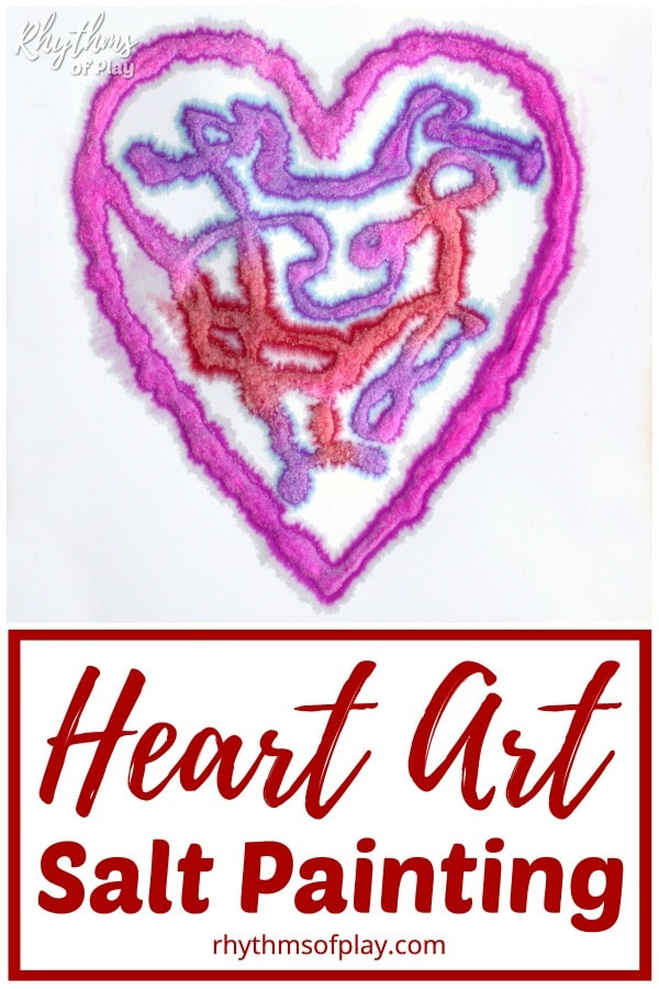 pink, red, and purple raised salt heart art for Valentine's Day.
