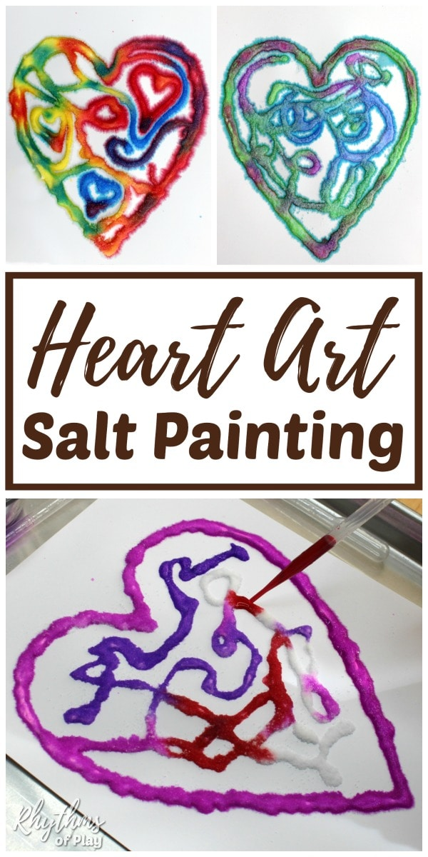 Heart salt painting art projects